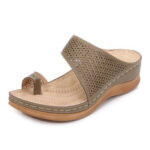 New              LOSTISY Women Large Size Toe Ring Hollow Out Beach Slide Sandals