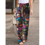 New              Ethnic Floral Print Drawstring Wasit Side Pocket Ankle Length Pants