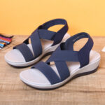 New              LOSTISY Women Comfy Cross Elastic Strap Soft Sports Sandals
