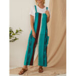 New              Plus Size Polka Dot Striped Patchwork Straps Casual Jumpsuit