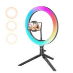 New              BlitzWolf® BW-SL5 10inch RGB LED Ring Light Dimmable Selfie Ring Lamp for YouTube Tiktok Live Stream Makeup With Tripod Phone Holder