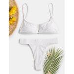 New              Women White Backless High Waist Bikini Thong Swinsuits