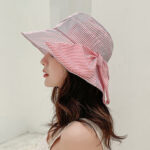 New              Stripe Beach Sun Hat Cotton Wide Brim Hat For Women Elegant Multipurpose Foldable Anti-UV Cap For Lady