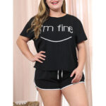 New              Plus Size Women Letter Print Black Short Sleeve Drawstring Shorts Casual Pajama Set