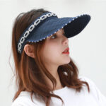 New              Women Collapsible Summer Shading Empty Top Hat Foldable Dual-use Cap