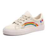New              Women Low Top Rainbow Comfy Wearable Casual Flat Court Sneakers