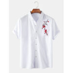 New              Mens Oriental Plum Blossom Embroidery Short Sleeve Casual Shirts