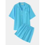 New              Women Solid Color Short Sleeve Revere Collar Comfy Casual Two Piece Pajama Set