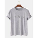 New              Mens 100% Cotton Letter Print Crew Neck Short Sleeve Casual T-Shirts
