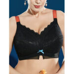 New              J Cup Plus Size Minimizer Wireless Full Coverage Thin Lace Orange Adjustable Straps Gather Breathable Bra