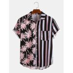 New              Banggood Design Men Coconut Tree Colorful Stripe Mixed Print Short Sleeve Casual Holiday Shirts