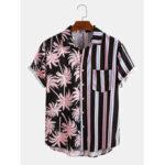 New              Banggood Design Men Coconut Tree Colorful Stripe Mixed Print Short Sleeve Casual Holiday Shirts