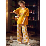 New              Women Cartoon Fruits Orange Letter Print Softies Short Sleeve Home Pajama Set