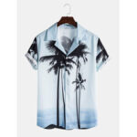 New              Mens Tropical Coconut Tree Print Lapel Collar Short Sleeve Hawaii Casual Shirts