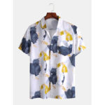 New              Mens Irregular Block Lapel Collar Chest Pocket Casual Short Sleeve Shirts
