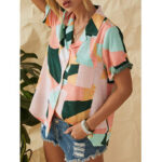 New              Geometric Printed Lapel Short Sleeve Button Down Casual Blouse For Women
