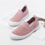 New              Women Rhinestone Decor Knitted Comfy Breathable Casual Slip On Sneakers