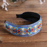 New              Fresh Bohemian Ethnic Style Hair Band Embroidered Cotton Wide Brimmed Hair Band Travel Home Leisure Hair Band