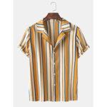 New              Mens Wide Srtiped Henley Collar Short Sleeve Shirts