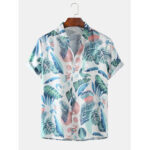 New              Mens Tropical Plant Leaves Print Turn Down Collar Short Sleeve Hawaii Holiday Shirts