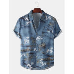 New              Mens Realistic Coconut Printed Fold Down Collar Hawaii Holiday Short Sleeve Shirts