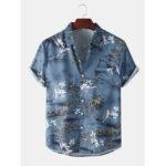 New              Mens Realistic Coconut Printed Fold Down Collar Hawaii Holiday Short Sleeve Shirts