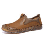 New              Menico Men Hand Stitching Anti-collision Slip Resistant Casual Leather Flats