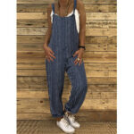 New              Stripe Printed Adjustable Shoulder Strap Side Pockets Sleeveless Casual Jumpsuit