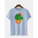New              Mens Cute Cartoon Cactus Printed Short Sleeve Breathable 100% Cotton T-Shirts