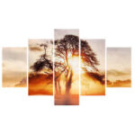 New              5 Pcs Wall Decorative Painting Sunset Wall Decor Art Pictures Canvas Prints Home Office Hotel Decorations