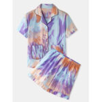 New              Women Tie Dye Button Up Pocket Revere Collar Short Sleeve Home Pajama Set