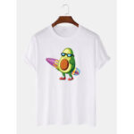 New              Men 100% Cotton Fun Surfing Avocado Printed Breathable Short Sleeve T-Shirts