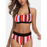 New              Plus Size Women Stripes High Waist Bikini Backless Swimwear