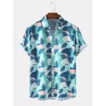 New              Mens Tropical Plant Print Casual Holiday Hawaiian Short Sleeve Shirts