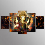 New              5 Pcs Canvas Ganesha Painting Poster Printing Wall Art Decor Picture for Home Office