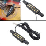 New              Adjustable Volume 12 Hole Sound Pickup Microphone Wire Amplifier Speaker for Acoustic Guitar With Connection Wire Guitar Parts
