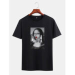 New              Mens Funny Kuso Mona Lisa License Crew Neck Black Short Sleeve T-Shirts