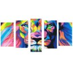 New              5 Pcs Wall Decorative Painting Huge Modern Abstract Wall Decor Colorful Lion Art Pictures Canvas Prints Home Office Decorations Oil Paintings