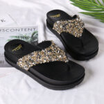 New              Women Comfy Lightweight Bling Sequined Flip Flops Platform Sandals