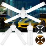 New              E27 Deformable LED Garage Light Bulb Foldable Ceiling Fixture Shop Workshop Lamp 110-265V