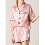 New              Women Colorful Striped Button Up Revere Collar Pocket Home Ice Silk Pajama Set