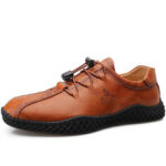 New              Men Hand Stricing Casual Slip Resistant Soft Sole Leather Flats