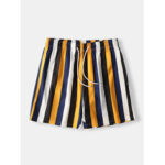 New              Men Colorful Stripe Shorts Quick Drying Mesh Lining Mid Length Beach Holiday Swim Trunks Shorts