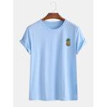 New              Mens Cartoon Pineapple Printed Sinple Home Casual Loose Short Sleeve T-Shirts