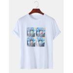 New              Mens Funny Oil Print Van Gogh Stars Designer Short Sleeve T-Shirts