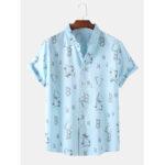 New              Mens Funny Graffiti Print Short Sleeve Button Up Casual Shirts