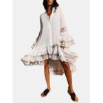 New              Women Solid Color Patchwork Irregular Hem Flare Sleeve Casual Loose Shirt Dress