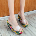 New              Women Summer Clear One Strap Wedges Heel Sandals