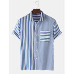 New              Mens Casual Striped Design Pocket Short Sleeve Cotton Shirts
