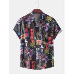 New              Mens Funny Colorful Graffiti Print Short Sleeve Casual T-Shirts
